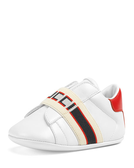 84f1799457b Gucci New Ace Band Leather Sneakers, Baby/Toddler In White | ModeSens