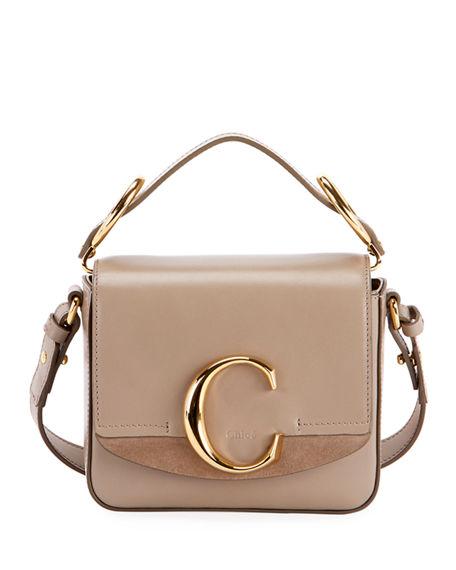 dabf0237e96 C Mini Shiny Leather Shoulder Bag in Gray