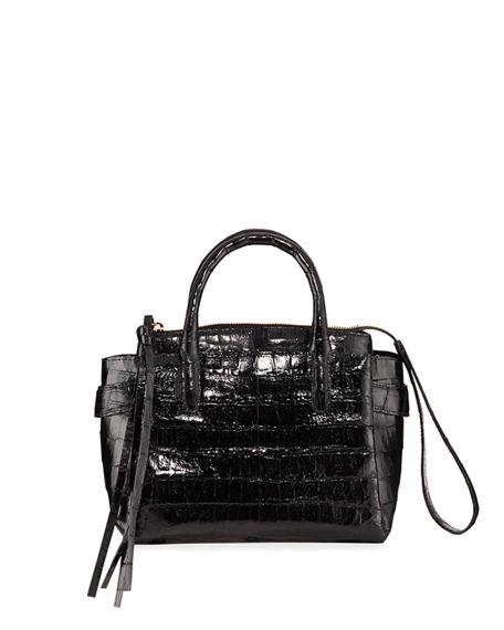 Nancy Gonzalez Cristy Small Crocodile Satchel Bag In Black