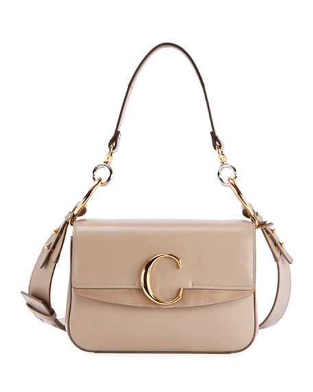 c82a02b0 C Small Shiny Calf Leather Shoulder Bag in Gray