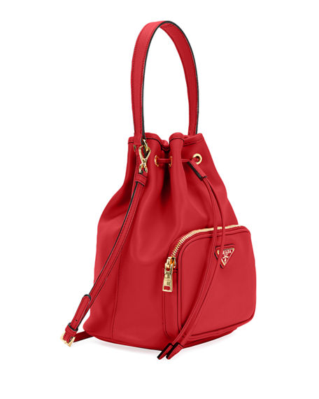 Prada Saffiano & City Leather Bucket Bag In Red