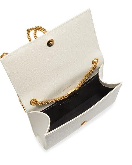 Saint Laurent Kate Monogram Ysl Small Grain Leather Crossbody Bag In White bb4b39dbd40ae