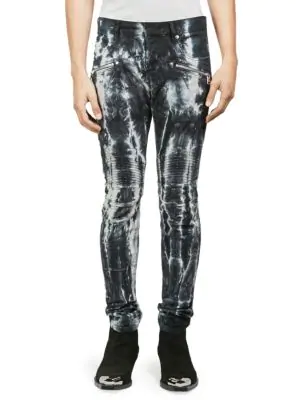 ce24f2f3719 Balmain Tie-Dyed Skinny Biker Jeans - Black | ModeSens