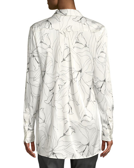 6622d0bc33298 St. John Floral-Print Button-Down High-Low Silk Charmeuse Blouse In ...