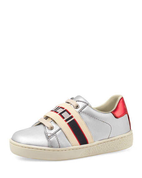 Gucci Ace运动鞋 In Metallic Silver Leather