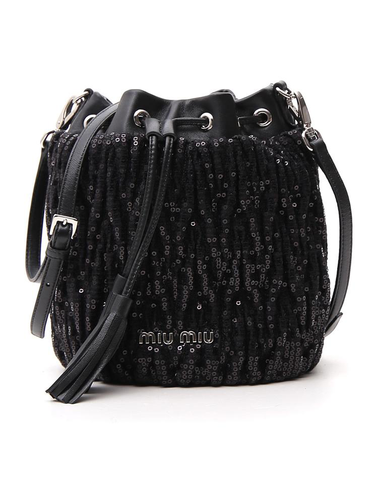 3d8506de031 Miu Miu Sequinned Bucket Bag In Black