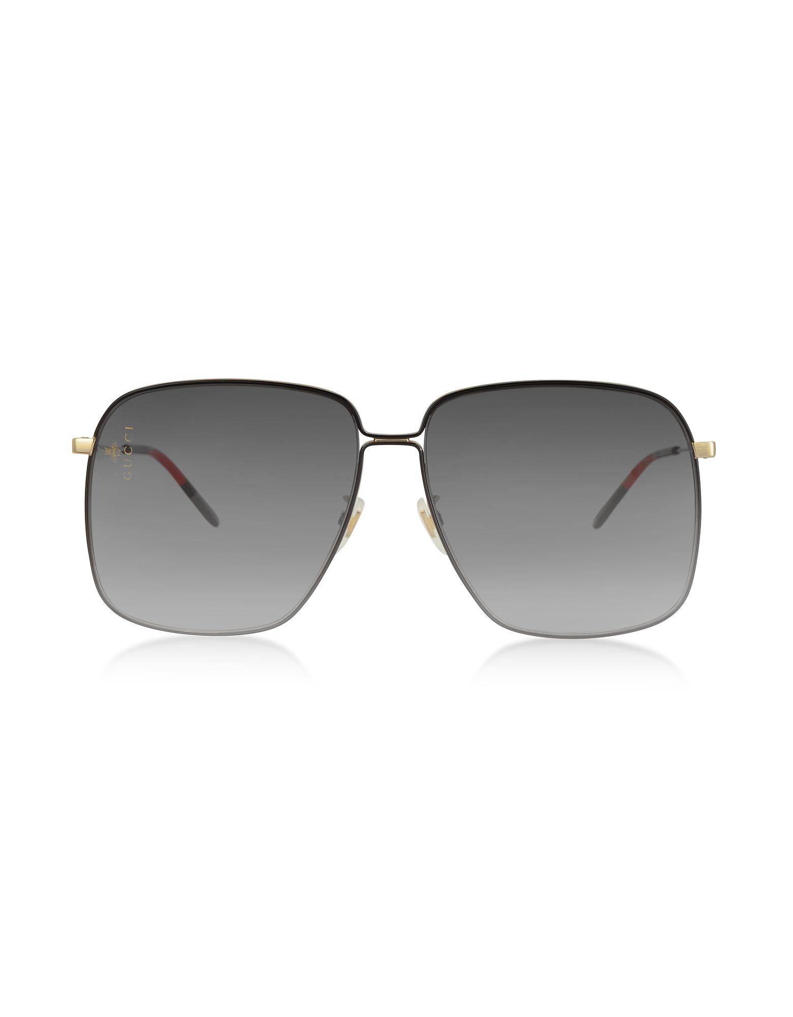 bd2ba29684fc Gucci Gg0394S Rectangular-Frame Metal Sunglasses W Mini Interlocking G Logo  In Black