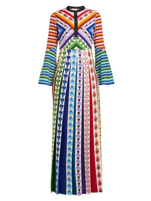 ec445da3ada6 Mary Katrantzou Desmine Pleated Printed Crepe De Chine Maxi Dress In Blue