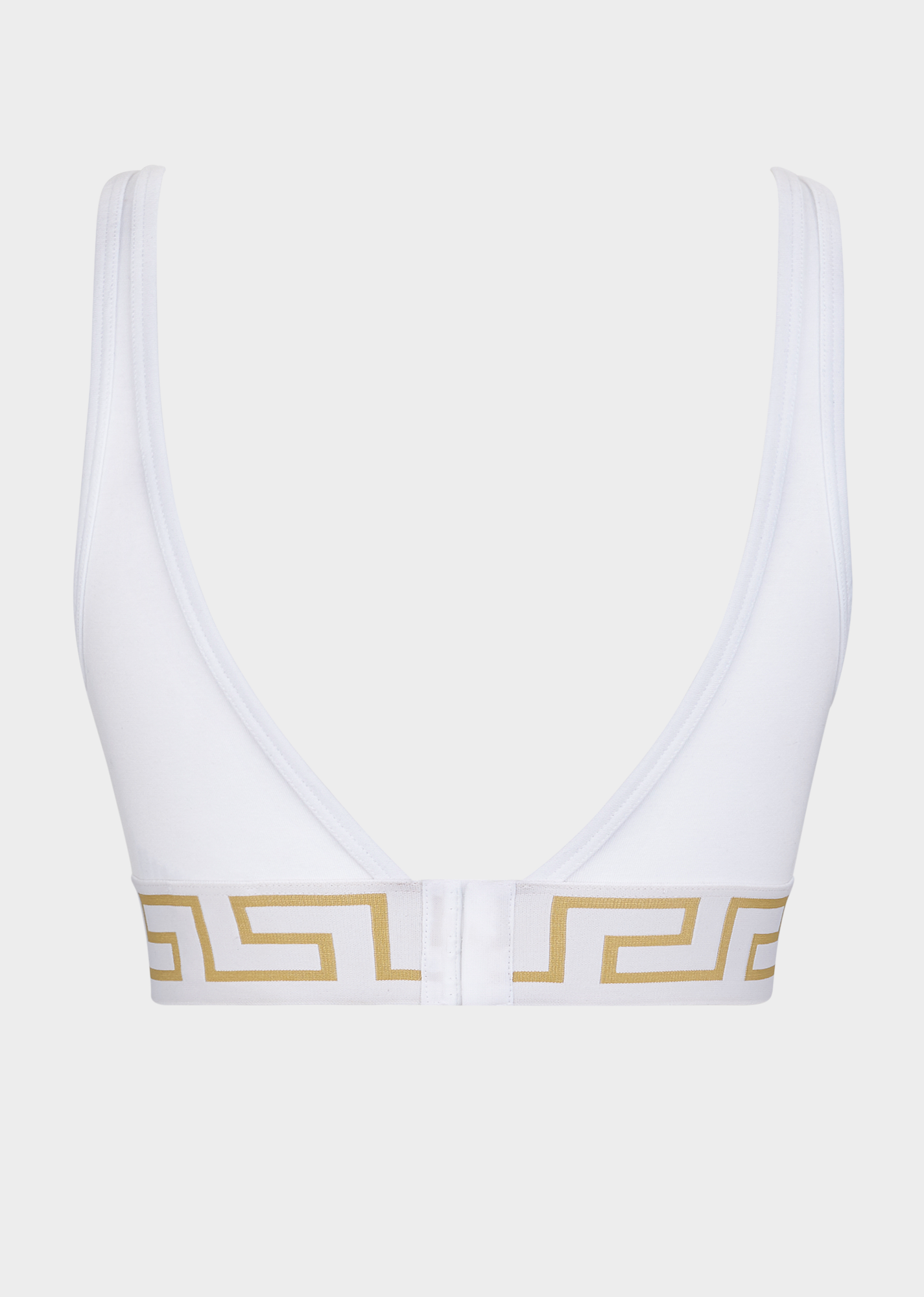 27aaeb5fd1fd91 Versace Greca Border Stretch Cotton Bralette In White
