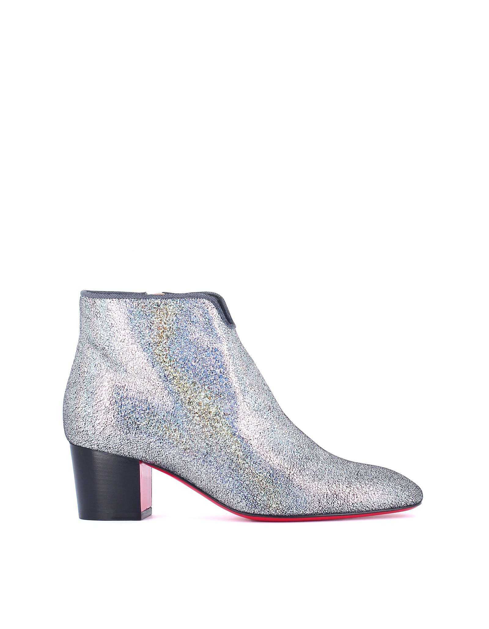 66c21b8cfc2a Christian Louboutin Disco 70S Low-Heel Glitter Red Sole Booties In Silver