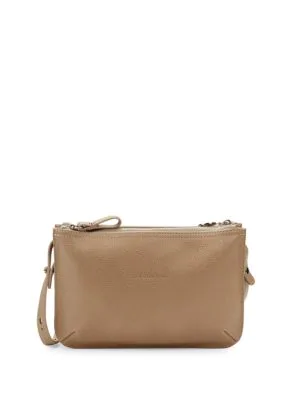 Le Foulonne Leather Crossbody Bag In Greige