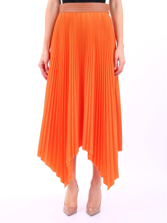 b7a69afcd60 Loewe Asymmetric Leather-Trimmed Pleated Poplin Midi Skirt In Orange ...