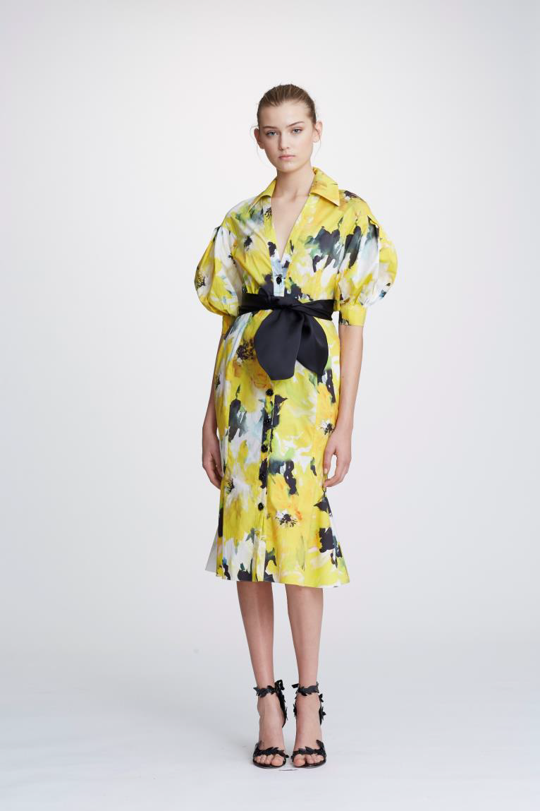 5dcbcb0bd2 Marchesa Pre-Fall 2019 Couture Floral Printed Cotton Shirt Dress In Daffodil