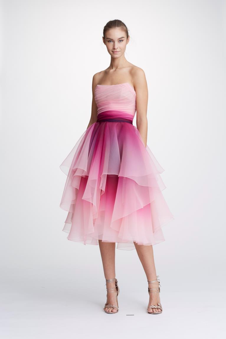 bc0bc2ca6e Marchesa Pre-Fall 2019 Couture Strapless Ombre Cocktail Dress In Fuchsia