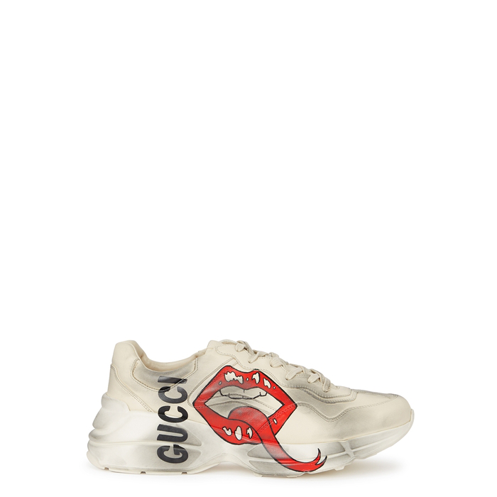 f8a29014c62 Gucci Rhyton Printed Distressed Leather Sneakers - Ivory In 9522 White