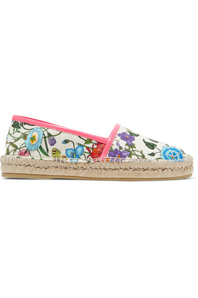 307a56a6a1f Gucci Leather-Trimmed Floral-Print Canvas Espadrilles In White. NET-A-PORTER