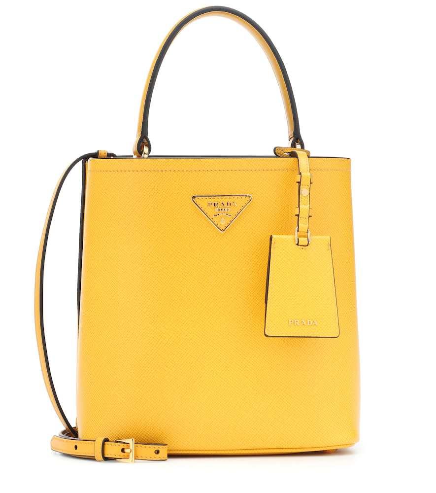 6b2ea83079 Prada Double Medium Leather Tote In Yellow