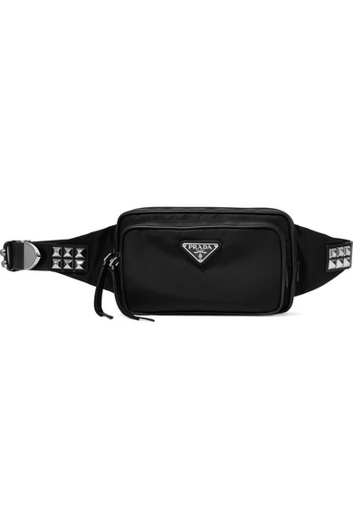 33f28dda7f15 Prada Vela Studded Leather-Trimmed Shell Belt Bag In Black