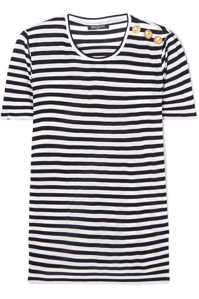1144461c Balmain Button-Embellished Striped Jersey T-Shirt In Black | ModeSens