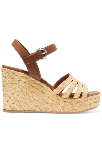 ce83cbfb04a3 Prada Leather And Woven Raffia Espadrille Wedge Sandals