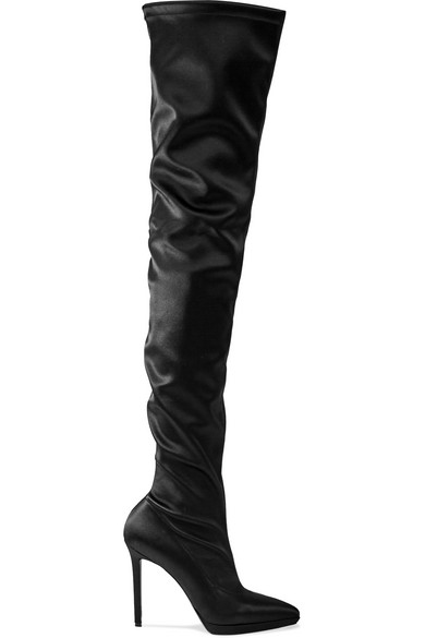 wholesale dealer a1f8a 4cd59 Montana 120 Stretch-Satin Thigh Boots in Black