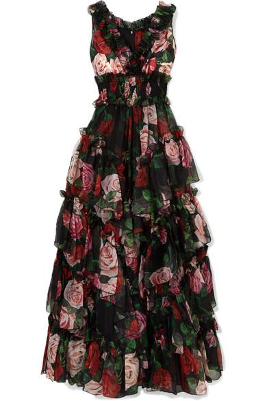 3fa3035c31 Dolce   Gabbana Ruffled Tiered Floral-Print Silk-Chiffon Gown In Black
