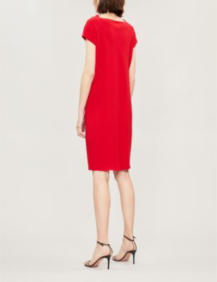 7553afc5c70 Theory Draped Crepe Sheath Dress In Peppercorn