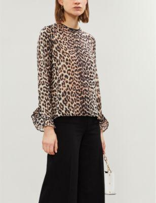 02b255ce Ganni Ladies Brown And Black Mullin Leopard-Print Georgette Top ...