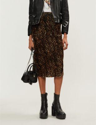 b50045e18cfa The Kooples Leopard-Print Drawstring-Waist Velvet Skirt In Leo09 ...