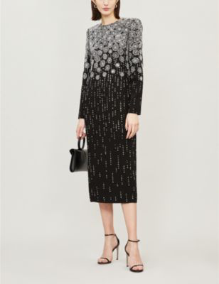 c06e79db063 Givenchy Long-Sleeve Jewel-Neck Crystal-Embroidered Ankle-Length Cocktail  Dress In