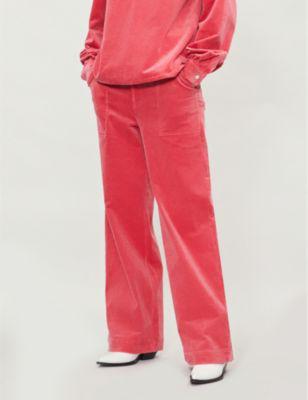 cf80c6b27e6979 Ganni Women's Hot Pink Ridgewood Relaxed High-Rise Corduroy Jeans ...