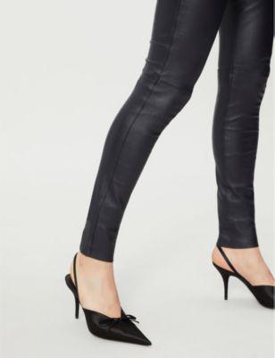 8e2f5116b7 Joseph Mid-Rise Skinny Leather Leggings In Navy   ModeSens