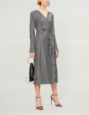 1f16e87acff Diane Von Furstenberg Tilly Silk-Satin Wrap Dress In Baker Dot ...