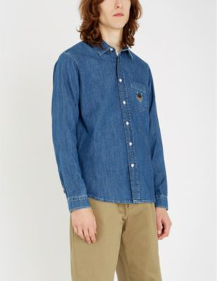 9dc6ae400b Kenzo Tiger-Embroidered Regular-Fit Denim Shirt In Navy Blue