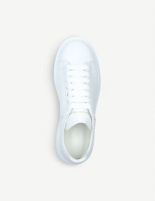 Alexander Mcqueen Exaggerated-Sole Leather Sneakers In White