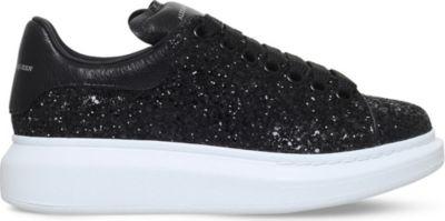 Glitter Leather Platform Sneakers in Black
