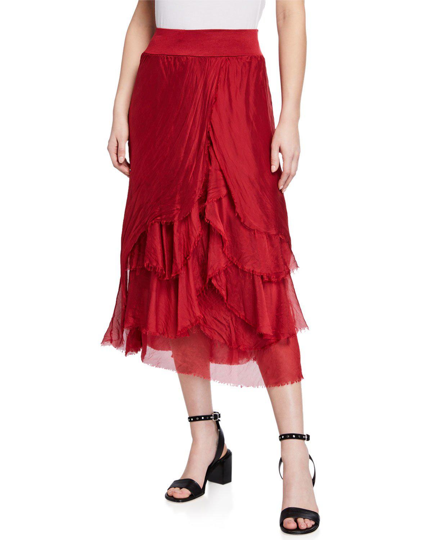 6ef66c27923823 Moda Seta Elastic Waist Layered Midi Skirt In Multi Pattern | ModeSens