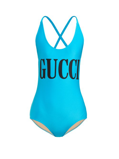 Gucci Women's 501899Xjank4136 Light Blue Polyamide One-Piece Suit