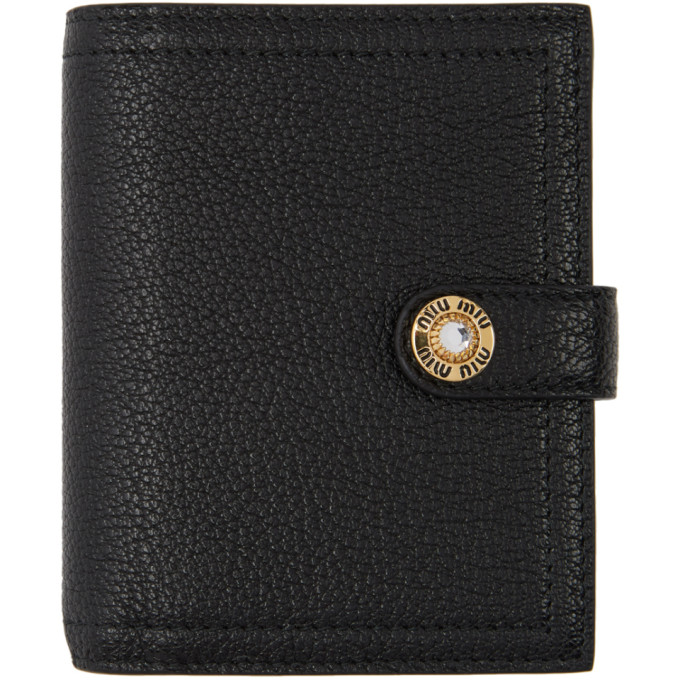 8e7498cb857 Miu Miu Black Madras Leather Jewels Bifold Wallet In F0002 Black ...