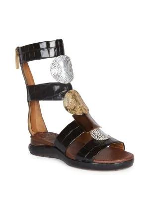 9fbb1d6bdf0e ChloÉ Wanda Flat Crocodile-Embossed Gladiator Sandals In Black ...