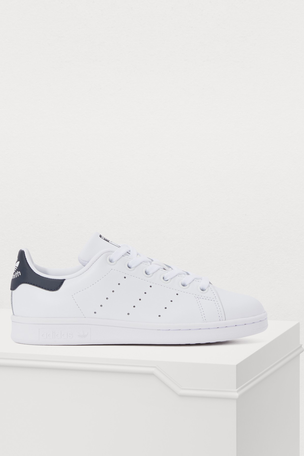b407fe782821 Adidas Originals White And Navy Stan Smith Sneakers - White