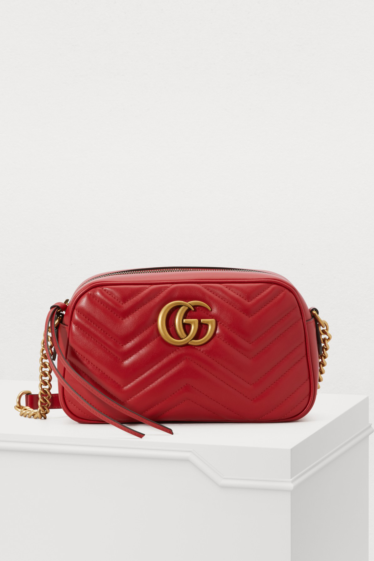 d401ef20269f86 Gucci Women's Red Gg Marmont Mini Quilted Leather Cross-Body Bag ...