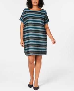cbce560f09e Eileen Fisher Printed Organic Linen Shift Dress