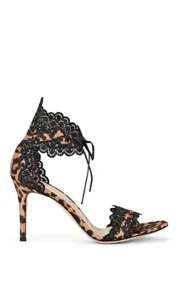 0bb35cc4a965 Gianvito Rossi Scalloped Lace Leopard Print D'Orsay Sandals In Brown ...