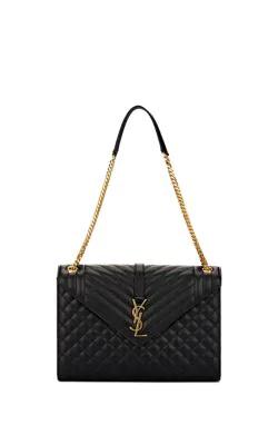 c521769ed032 Saint Laurent Monogram Ysl V-Flap Large Tri-Quilt Envelope Chain Shoulder  Bag -