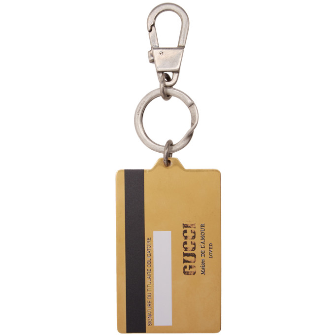 677a4cc21 Gucci Gold Credit Card Key Ring In 8898 Yellow   ModeSens