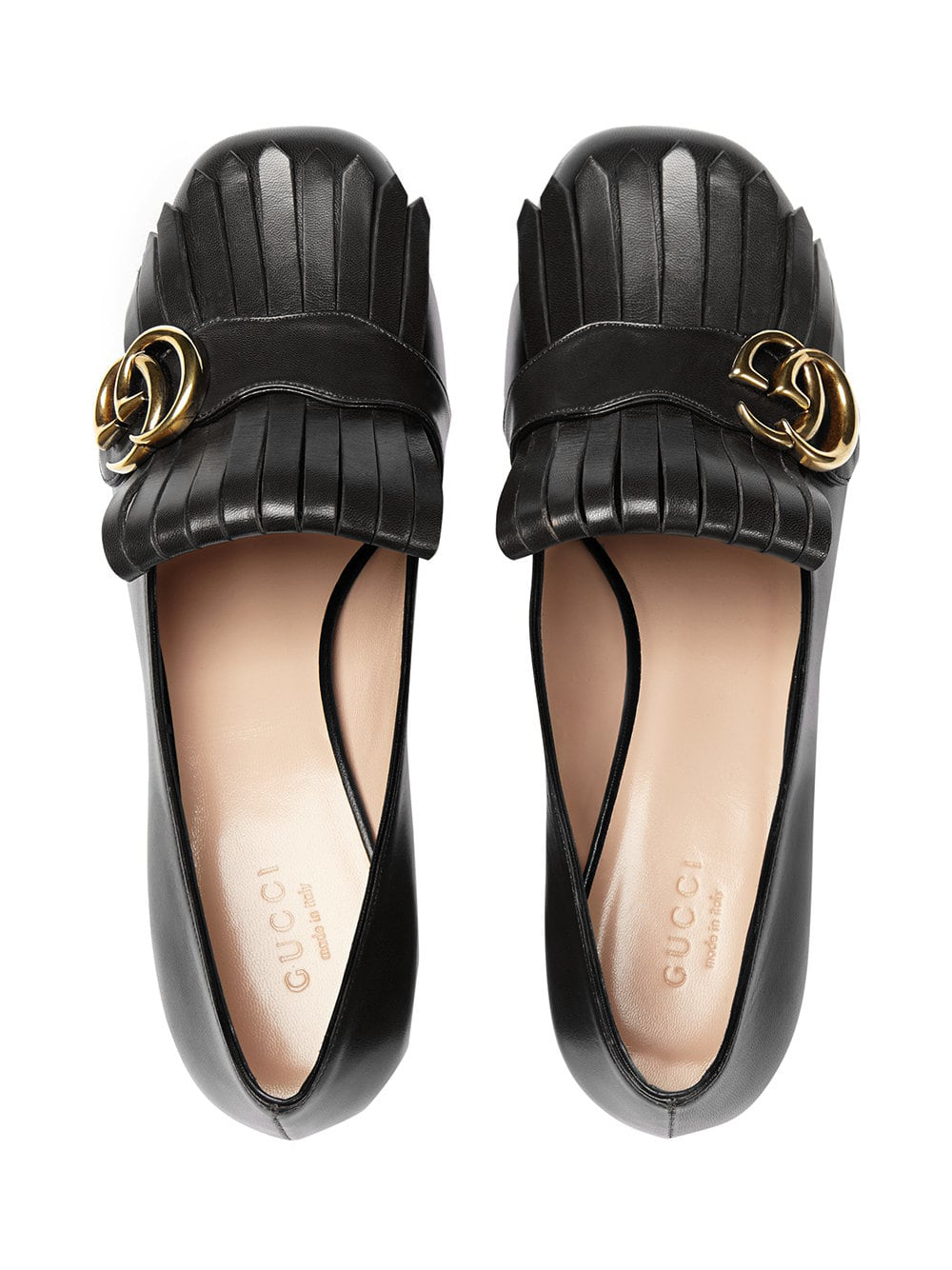 6c07837c59212 Gucci Marmont 55 Leather Mid-Heel Loafers In 1000 Nero