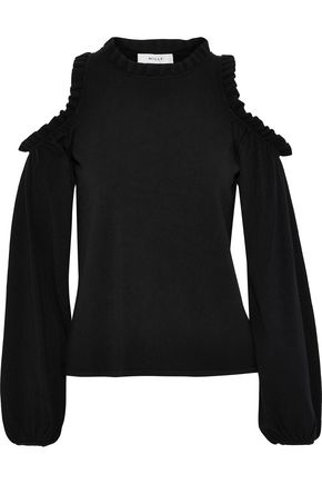 35c944a19805 Milly Woman Cold-Shoulder Ruffle-Trimmed Stretch-Knit Top Black ...