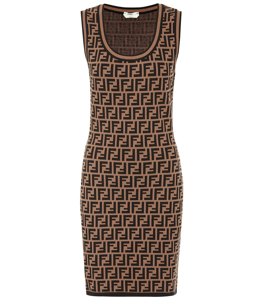 9729d01c0f63 Fendi Scoop-Neck Logo Knit Dress In Brown