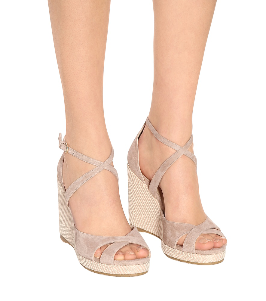d72e71eb154 Alanah 105 Suede Wedge Sandals in Pink